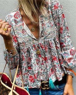 Bohemian V-neck Floral Print Lantern Sleeve Lace Patchwork Blouses