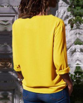 Buttons Turn-down Collar Long Sleeve Workwear Shirt