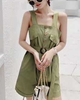 Casual Cotton Linen Sash Belt Office Streetwear Jumpsuit
