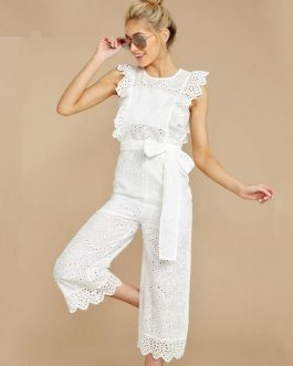 Casual High Waist Embroidery Bow Tie Jumpsuits