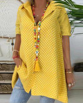 Casual Lapel V-neck Polka Dot Button Short Sleeve Loose Shirt