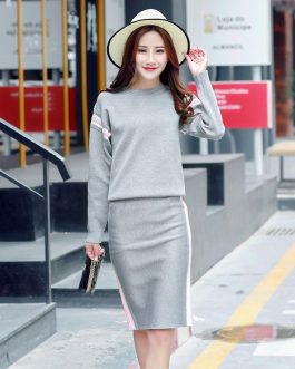 Casual Sweaters Step Skirt Suit