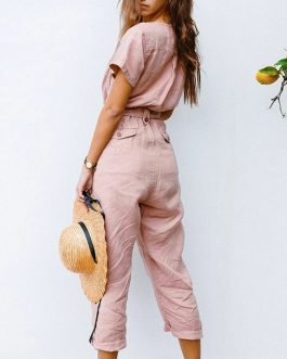 Casual V Neck Short Sleeve High Waist Button Cotton Jumpsuit