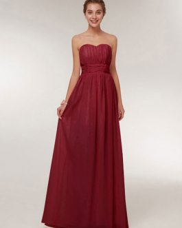 Chiffon A Line Sweetheart Floor Length Prom Formal Party Bridesmaid Dress