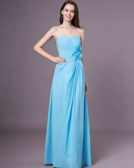 Chiffon Strapless Floor Length Pleated Sweetheart Wedding Party Bridesmaid Dresses