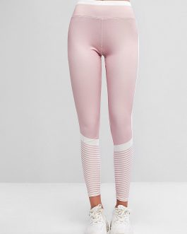 Color Block Pull Up Striped Elastic Gym Leggings