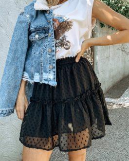 Elastic High Waist Mini Skirt