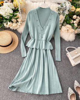 Elegant Beading Vest And High Collar Bottom Dress