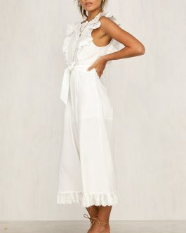 Elegant Embroidery Linen Hollow Out Sashes Long Jumpsuit