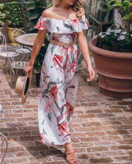 Elegant Floral Print Sashes Off Shoulder Long Jumpsuit