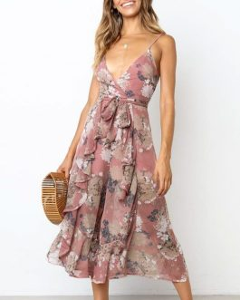 Elegant Floral Print Sexy Ruffled Sashes Jumpsuit