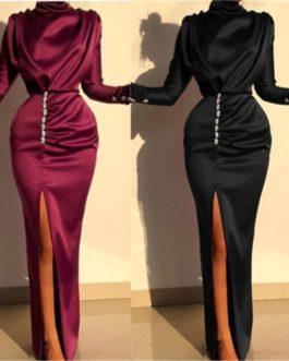Elegant High Split Satin Silk Buttoned Party Maxi Dress