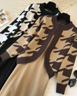 Elegant Houndstooth Cardigans And Sling-dress Set