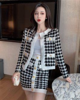 Elegant Knitting Cardigan Mini Skirt
