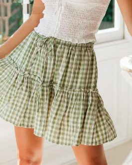Elegant Lace Up Plaid Print Skirts