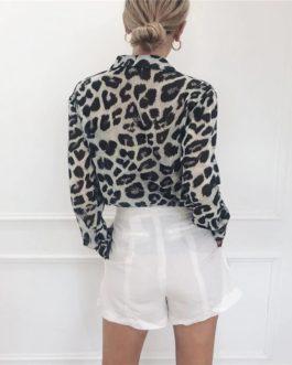 Elegant Leopard Print Casual Tops