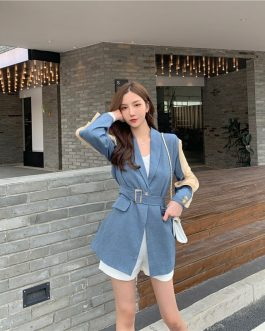 Elegant Patchwork Loose  Fashion Belted Workwear Blazer