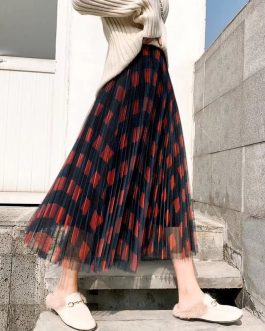 Elegant Plaid Pleated A Line Maxi Skirt