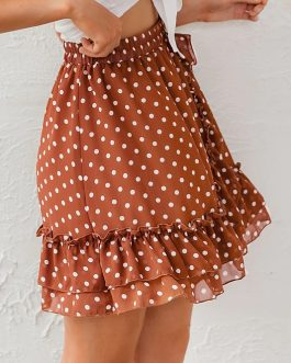 Elegant Polka Dot Print Mini Skirt