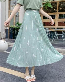 Elegant Printing Pleated Midi Skirt