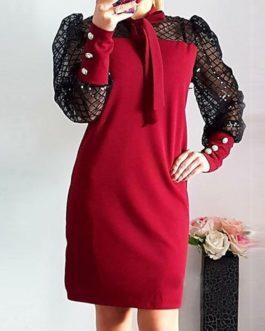 Elegant Puff Shoulder Mesh Patchwork Mini Party Dresses