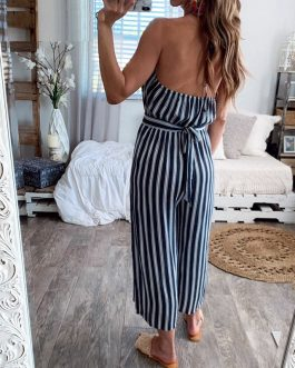 Elegant Striped Backless Lace Up Bohemian Jumpsuit
