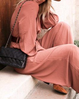 Elegant V Neck Long Sleeve Loose Party Club Jumpsuits