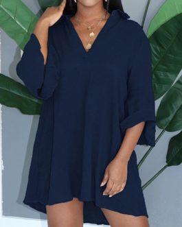 Elegant V-neck Casual Half Flare Sleeve Mini Shirt Dress