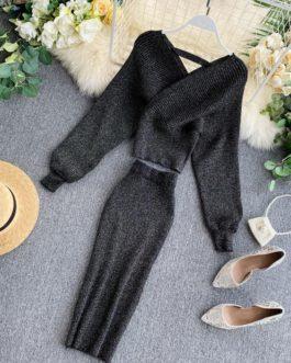 Elegant V-neck Knitting Sweater And Wrap Hip Skirt