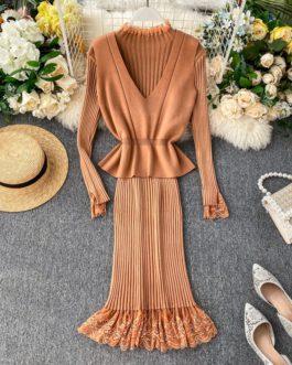 Elegant Vest Lace Patchwork Bottom Dress Set