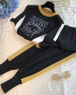 Embroidery Cartoon Style Sweater Pants Tracksuit
