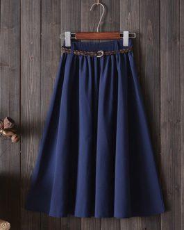 Fashion A Line Casual Midi Skirt