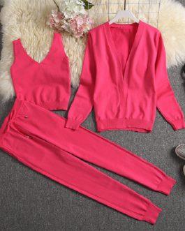 Fashion Cardigans Vest And Pants Clothes Set