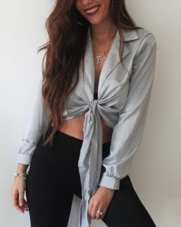 Fashion Casual Solid Long Sleeve Silk Office Work Lapel Shirt
