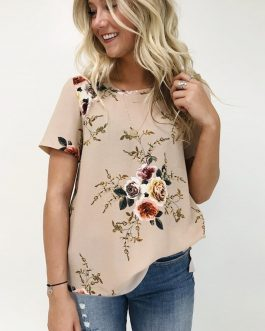 Fashion Floral Print Short Sleeve Casual O Neck Chiffon Blouses