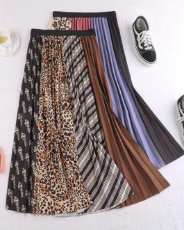 Fashion Leopard Print Contrast Color Skirt