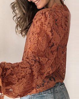 Flare Long Sleeve Lace O-neck Elegant Street Wear Blouse