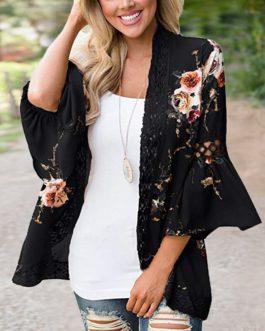Floral Print Lace Blouse