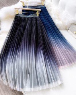 Gradient Starry Sky Long Midi Skirt
