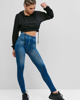 High Waist Printed Elastic Femme Streetwear Denim Pants