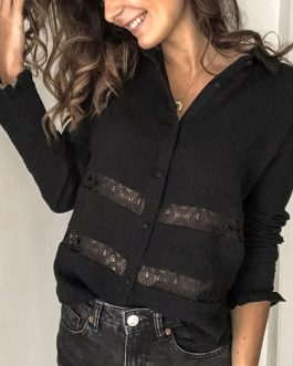Hollow Out V-neck Lace Long Sleeve Chiffon Shirt