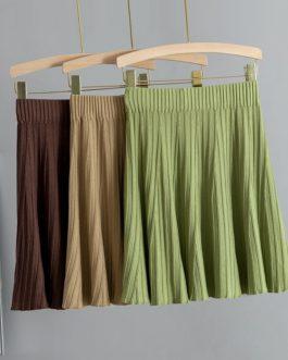 Knit Above Knee Mini Skirt