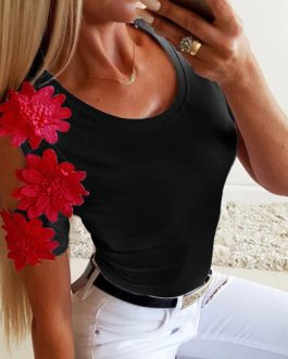 Lace Patchwork Hollow Out Short Sleeve Slim Fit Blouse