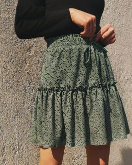 Lace Up High Waist Skirt