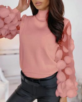 Lantern Long Sleeve Mesh O-neck Solid Knitted Casual Blouse