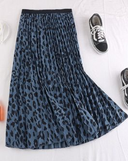 Leopard Pleated A Line Long Skirt