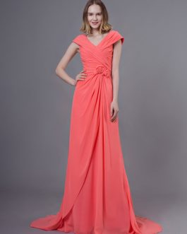 Long Chiffon Flowers Pleated Wedding Party Bridesmaid Dresses With Train