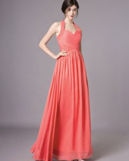 Long Chiffon Halter Pleated Backless Wedding Party Bridesmaid Dresses
