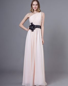 Long Chiffon One Shoulder Bows Floor Length Wedding Party Bridesmaid Dresses