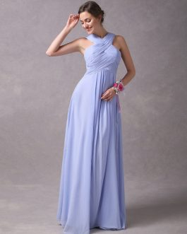 Long Chiffon Pleated Criss Cross A Line Floor Length Wedding Party Bridesmaid Dresses